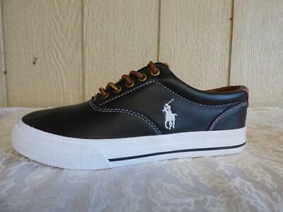 $69.00 Polo Ralph Lauren Vaughn Leather Sneakers, Black, US 7