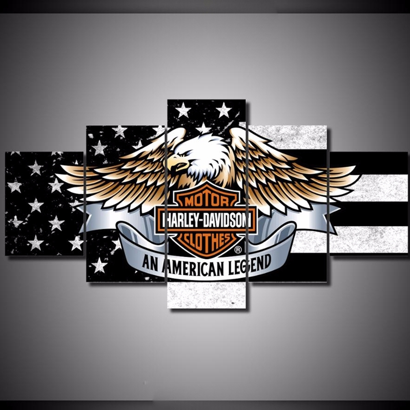 5pcs Harley Davidson Motorcycle Printed Canvas Wall Art Picture Home Decor, used for sale  USA