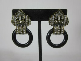 HEIDI DAUS Door Knocker Drop Dangle Black and Crystal Clip-On Earrings - $59.39