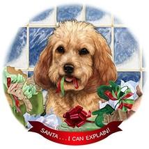 Cockapoo, Buff Dog Porcelain Hanging Ornament Pet Gift 'Santa.. I Can Ex... - $15.81