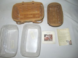 Two Longaberger Baskets: 2001 Memories & Happy Holidays 2006 + Add'l Liner - $24.95