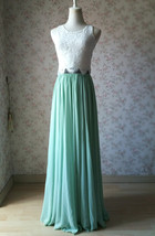 Two Piece Bridesmaid Dress Chiffon Skirt Sleeveless Crop Lace Top Green Wedding image 2