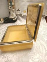 Vintage Himark Giftware Hinged Floral Design Genuine Alabaster Trinket Box Italy image 4
