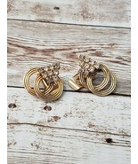 Vintage Clip On Earrings Gold Tone Double Hoop with Clear Gem - $9.99