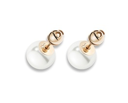 "Authentic Christian Dior ""TRIBALES"" PEARL EARRINGS AGED GOLD-TONE METAL"