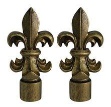 Urbanest Set of 2 Fleur de Lis Lamp Finials, 3-inch Tall, Antique Gold - $19.79
