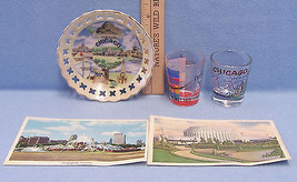 Vintage Chicago Souvenir Shot Glass Postcard Collector Plate Dish Lot of 5 - $13.16