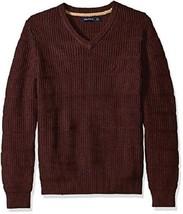 Nautica, Men's, V-Neck Sweater, Shipwreck Burgundy Heather, Sz. Large - $63.36