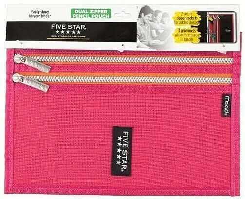 Mead Five Star Pink Dual Zipper 3 Ring Binder Pencil Pouch School Supplies NEW