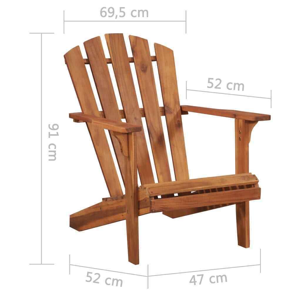 vidaXL Solid Acacia Wood Garden Adirondack Chair Furniture Patio Outdoor image 3