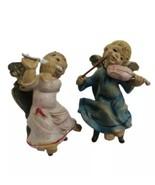 Vintage Cherub Puti Angel Pair Italy Plastic Sitting Angels Playing Inst... - $27.47