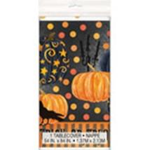 Painted Pumpkin Raven Halloween Tablecover Plastic 54 x 84 - $5.12