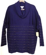 NWT Coldwater Creek Cowl Neck MERINO MIX SHIMMER SWEATER Stripes 2X (20-22) - $66.90