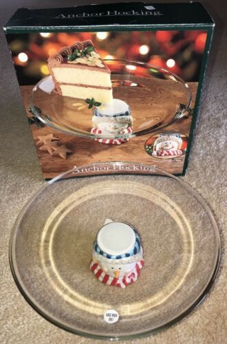 Primary image for Holiday Christmas Glass Cake Platter Plate Snowman Base Anchor Hocking NIB