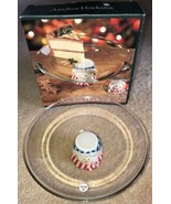 Holiday Christmas Glass Cake Platter Plate Snowman Base Anchor Hocking NIB - $29.69