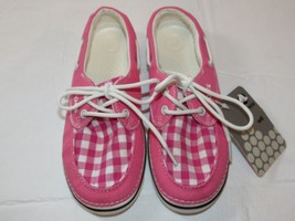 Womens crocs Hoover Boat Gingham Hot Pink canvas loafer shoes W 6 boat shoe *^ - $24.49