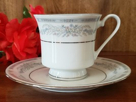 Blue Flowered Crown Ming Coffee Cup and Saucer - £14.38 GBP
