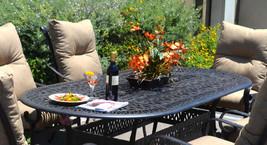 Patio 7 piece dining set oudoor cast aluminum furniture chairs Sunbrella Bronze image 2