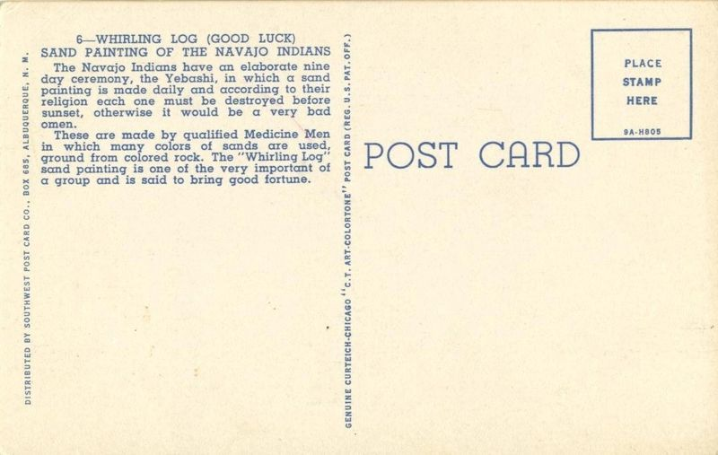 Whirling Log Sand Painting of the Navajo Indians, unused linen Postcard