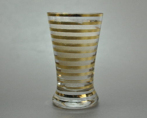 Flared Gold Striped Clear Glass Fluted Shot Glass