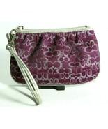 Coach Purple And Metallic Silver Signature C's Top Zip Wristlet Wallet - $24.19