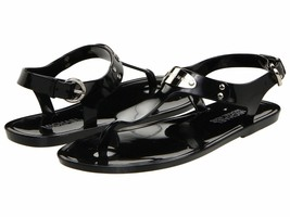 Michael Kors MK Premium Plate Jelly Thong Rubber T-Strap Shoes Sandals image 2