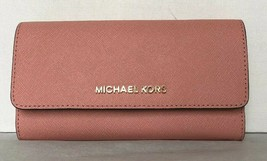 New Michael Kors Jet Set Travel Large Trifold wallet Leather Pale Pink - £53.28 GBP