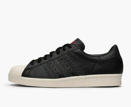 Adidas Originaux Superstar 80s Hommes Baskets Chaussures Cuir BZ0140 Noir - $83.25