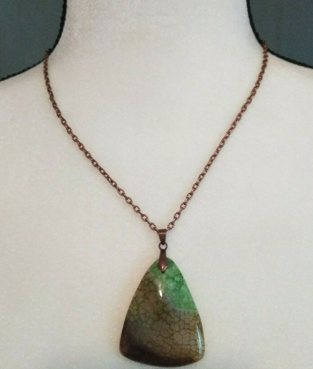 Necklace, Green Quartz Dragon Vein Pendant Copper Chain Natural Stone Women Men