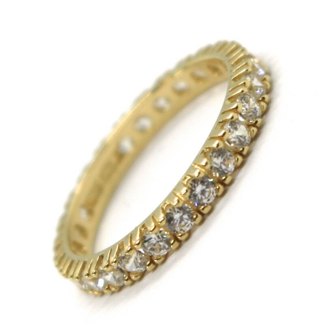 Yellow Gold Ring 750 18K, Eternity, 4 Tips, Thickness 3 mm, Zircon Cubic