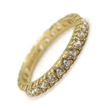 Yellow Gold Ring 750 18K, Eternity, 4 Tips, Thickness 3 mm, Zircon Cubic image 1