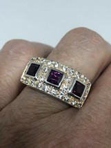Vintage Red Tourmaline Ring 925 White Sapphire Sterling Silver Size 7.25 - $114.84