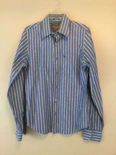 Mens ABERCROMBIE FITCH MUSCLE WHITE BLUE STRIPED LONG SLEEVE SHIRT Small 14