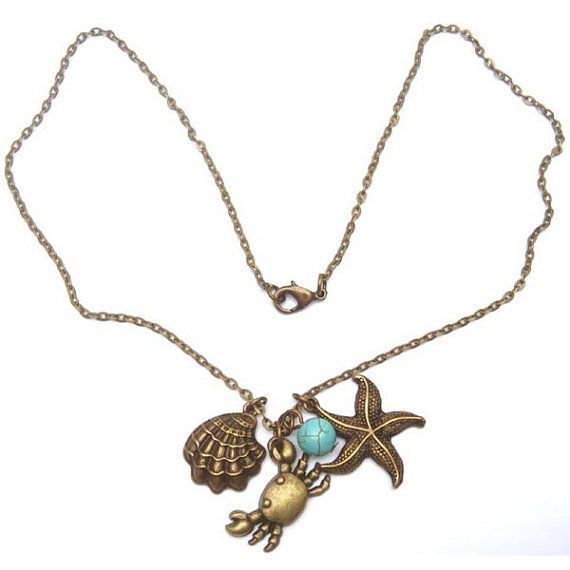 Antiqued Brass Starfish Shell Crab Turquoise Necklace