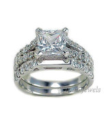 3.3ct Princess Cut Russian Ice on Fire CZ Split 3 Band Wedding Ring Set ... - $81.00