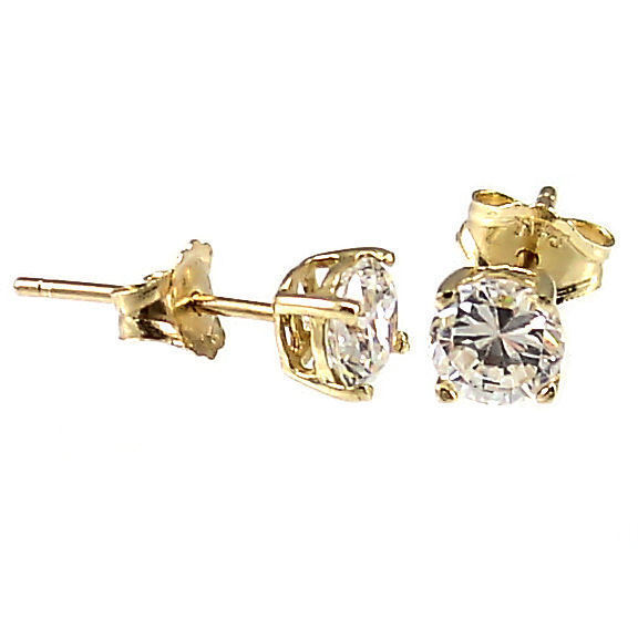 3mm 0.2cts Russian Ice on Fire CZ Cast Stud Earrings Solid 14K Yellow Gold