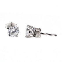 4mm 0.5cts Russian Ice on Fire CZ Cast Stud Earrings Solid 14K White Gold - $68.00