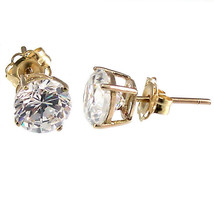 5mm 1.0cts Russian Ice on Fire CZ Cast Stud Earrings Solid 14K Yellow Gold - $77.00