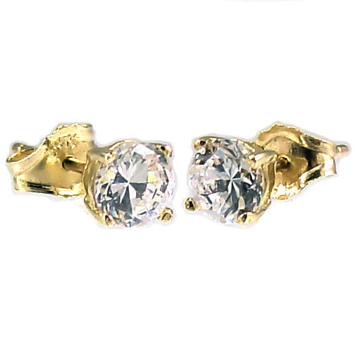 5mm 1.0cts Russian Ice on Fire CZ Cast Stud Earrings Solid 14K Yellow Gold