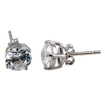 6.5mm 2.0cts Russian Ice on Fire CZ Cast Stud Earrings Solid 14K White Gold - $115.00