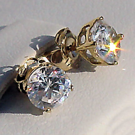 6.5mm 2.0cts Russian Ice on Fire CZ Cast Stud Earrings Solid 14K Yellow Gold