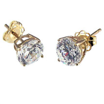 6.5mm 2.0cts Russian Ice on Fire CZ Cast Stud Earrings Solid 14K Yellow Gold - $89.00