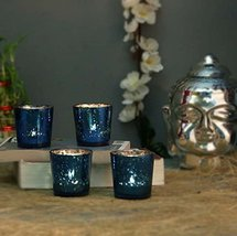 Azure Mercury T-LIGHT Holderhand Cut Indian Decorative Wedding Gift Crystal Glas - $25.48