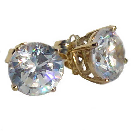 7mm 2.5cts Russian Ice on Fire CZ Cast Stud Earrings Solid 14K Yellow Gold
