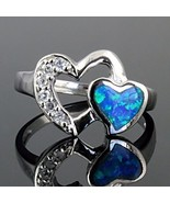 Gorgeous Blue Opal and Russian Ice on Fire CZ Promise Friendship Ring si... - $26.00