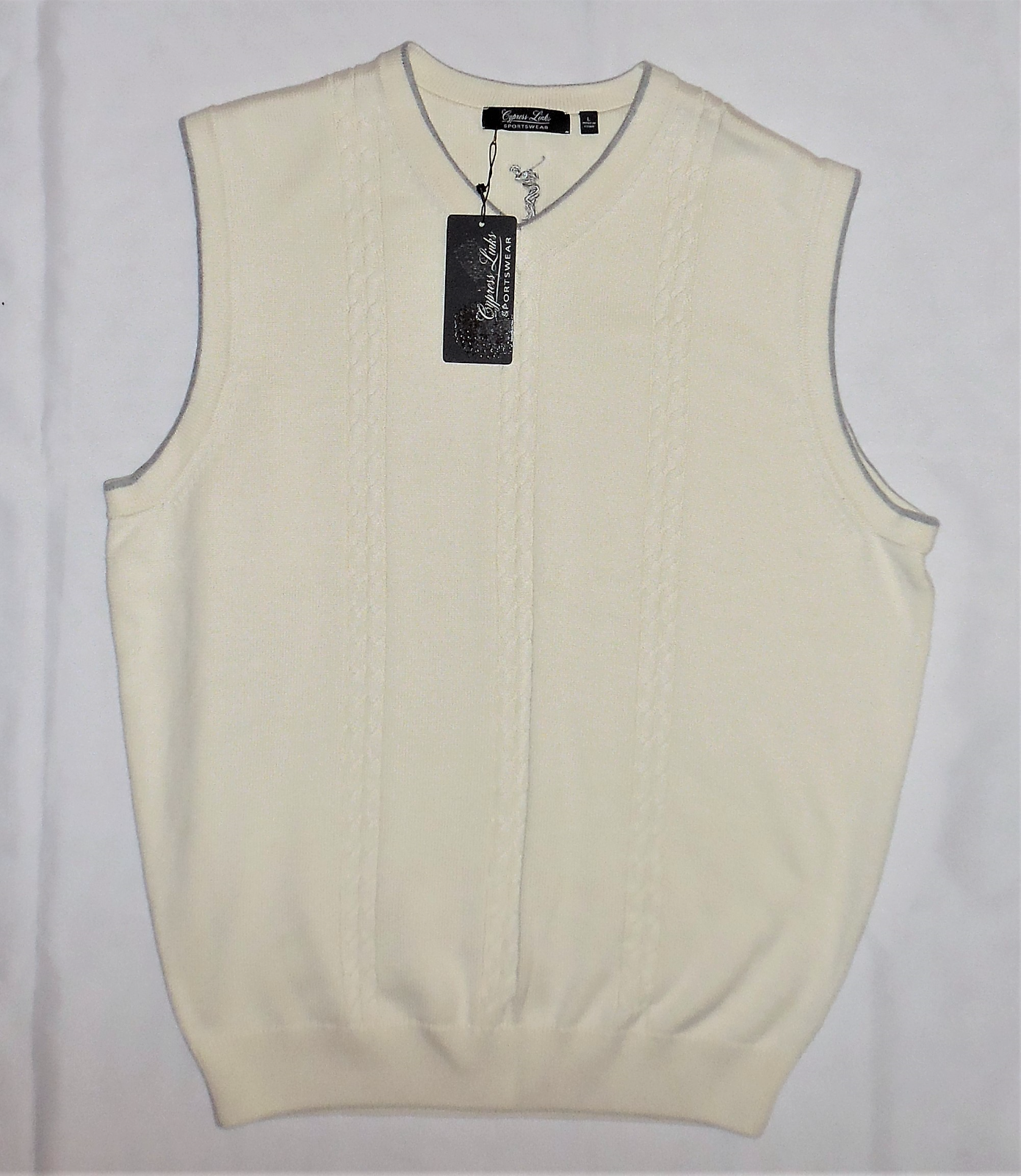 CYPRESS LINKS Cable Knit Cream Sweater Vest Large Golf Attire Sportswear LARGE