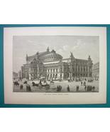 PARIS New Opera Building Exterior View - 1877 Wood Engraving Illustration - $5.74