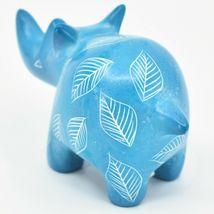 Vaneal Group Hand Carved Kisii Soapstone Sky Blue Rhinoceros Rhino Figurine image 3