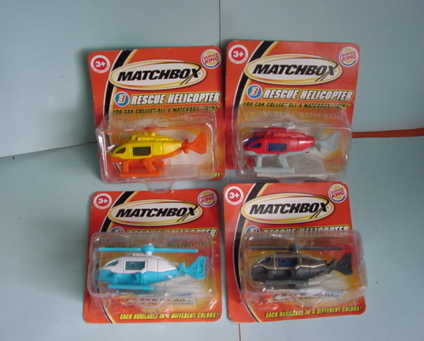 Burger King Matchbox RESCUE HELICOPTER  set of four