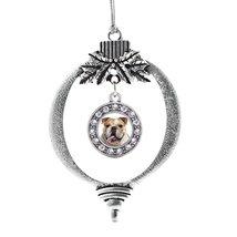 Inspired Silver Bulldog Face Circle Holiday Ornament - $14.69